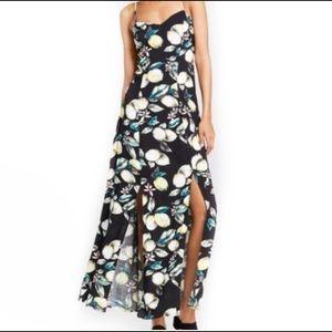 Lemon print maxi dress with slits